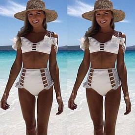 Женский купальник белый ретро стиль