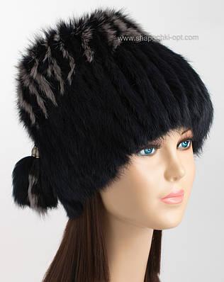 Шапка-парик из меха кролика двухцветная черная с темно-серым ... b1253412e0296