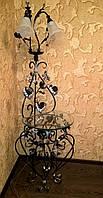 Торшер кованый чёрный с серебром 1115/2 ВН