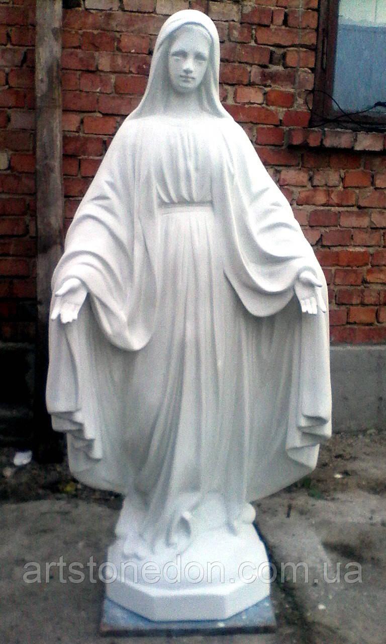 Бетонная статуя Божьей Матери № 100 из белого бетона 130 см