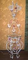 Белый торшер с розовыми розами и полочкой 1115/2 WR