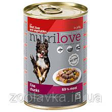 Консерви Nutrilove (Нутрилав) Яловичина, печінка і овочі в желе для собак 415 г
