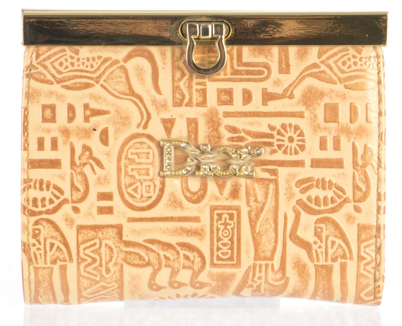Маленький женский кожаный кошелек высокого качества art.CD-55809 В золотой