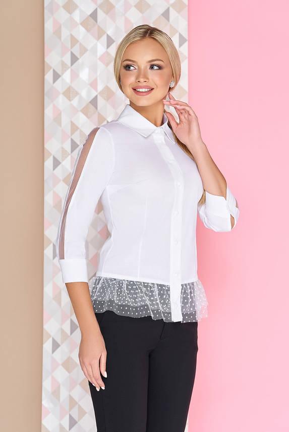 Нарядная белая блуза с баской на пуговицах, фото 2