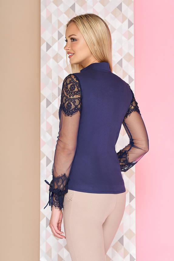 Нарядная блузка с гипюром синяя, фото 2