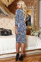 Трикотажне жіноче біло-синя сукня з візерунком (2047 svt), фото 3