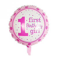 Шар фольгированный First Birthday розовый диаметр 45 см