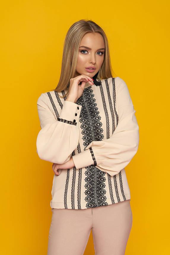 Нарядная шифоновая блузка с кружевным орнаментом, фото 2