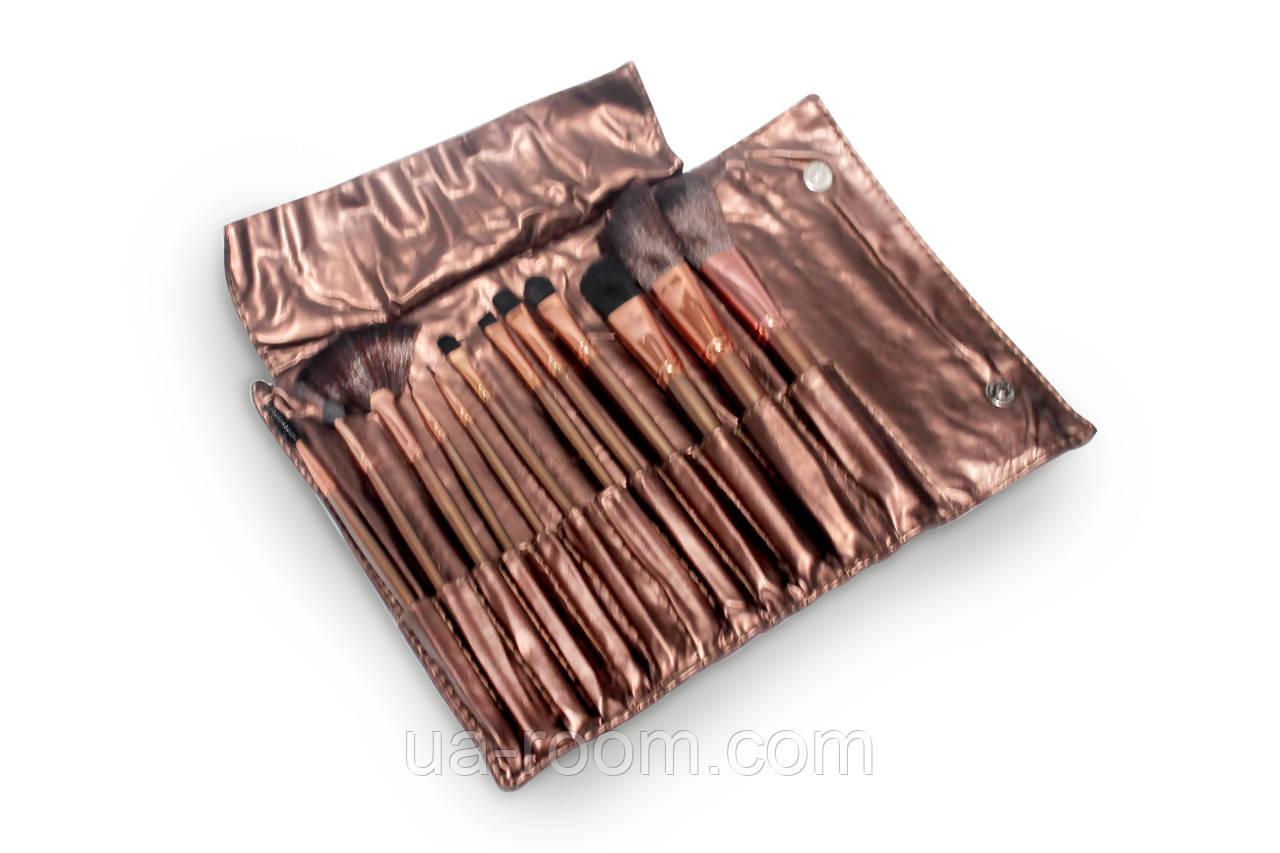 Набор кистей для макияжа Lily (12 шт, Бронзовый)