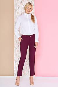 Котоновые укороченные женские брюки бордо