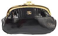 Женская элитная лаковая кожаная косметичка на поцелуях art. B9031B черная, фото 1