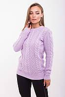 Молодежный вязанный свитер Одея сиреневый(44-48)