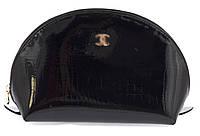 Женская элитная лаковая кожаная косметичка art. P7034 черная большая, фото 1
