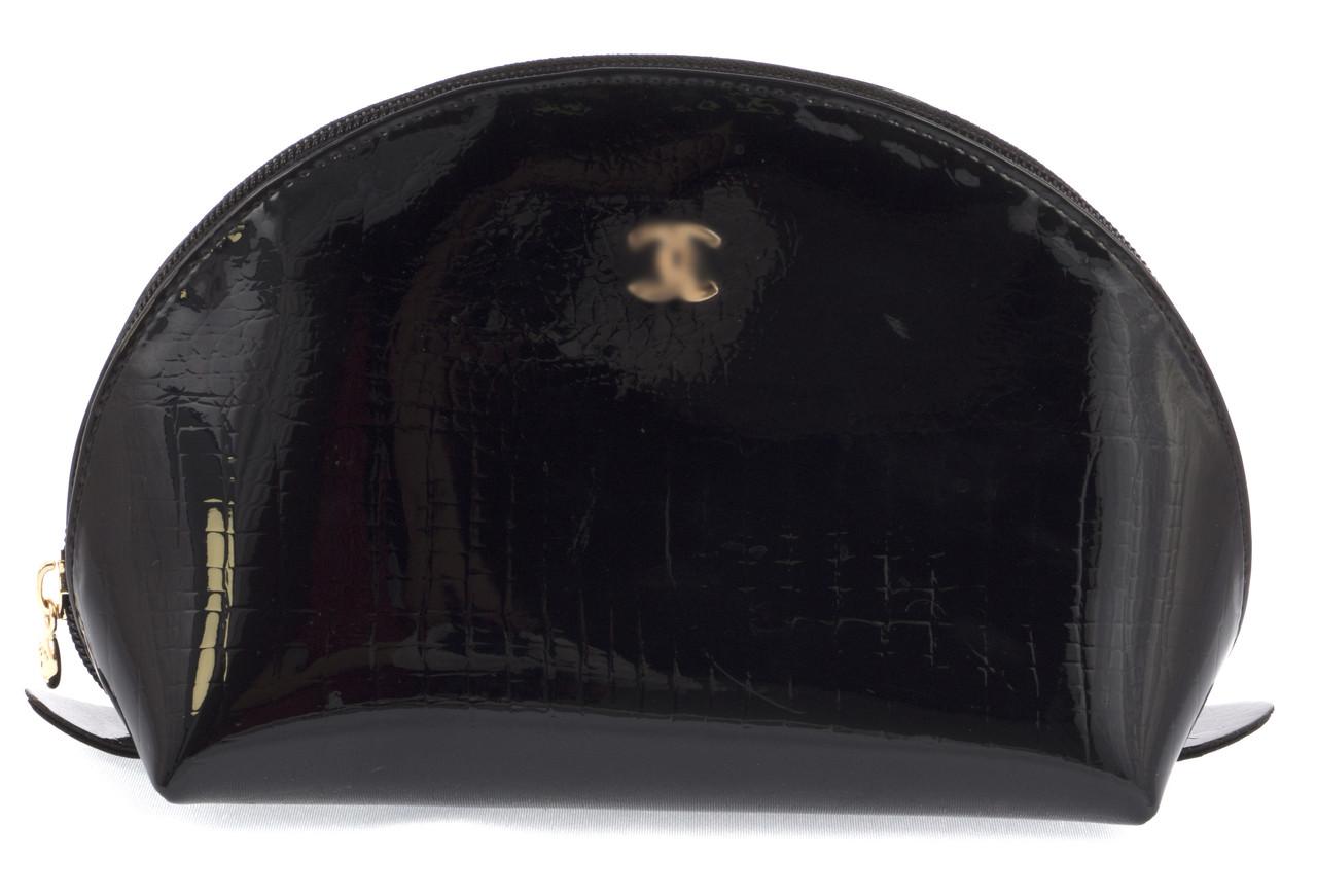 Женская элитная лаковая кожаная косметичка art. P7034 черная большая