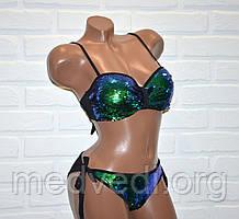 Купальник хамелеон, с двухсторонней пайеткой, раздельный, бикини, черный, зеленый, размер M, на завязках