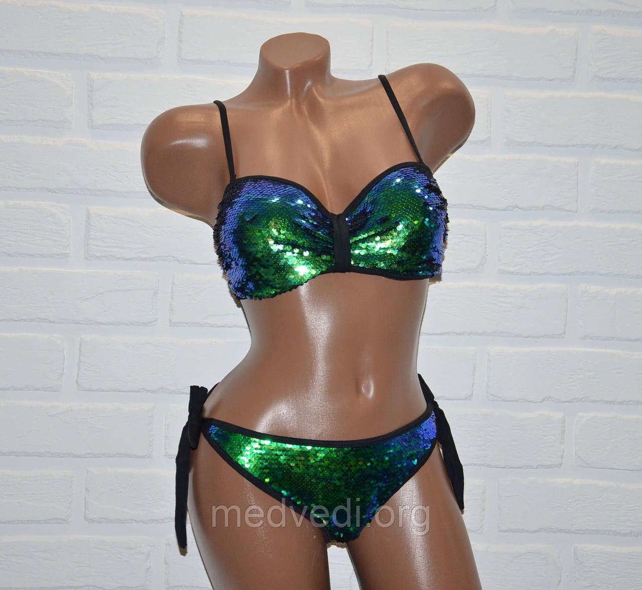 Блестящий купальник с двухсторонней пайеткой, раздельный, бикини, черный, зеленый, размер S, на завязках