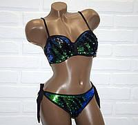 Яркий женский купальник, с двухсторонней пайеткой, раздельный, бикини, черный, зеленый, размер XL, на завязках