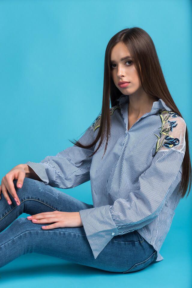 a458765dd927 Молодежная, женская, коттоновая рубашка в полоску