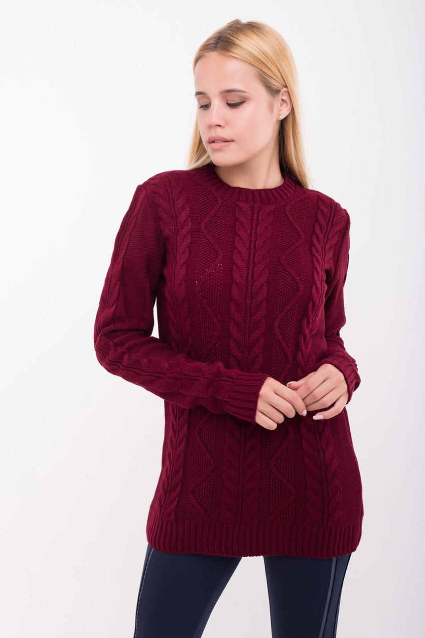 Молодежный вязанный свитер Одея бордо(44-48)