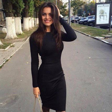 Базовое женское платье миди Черное, фото 2
