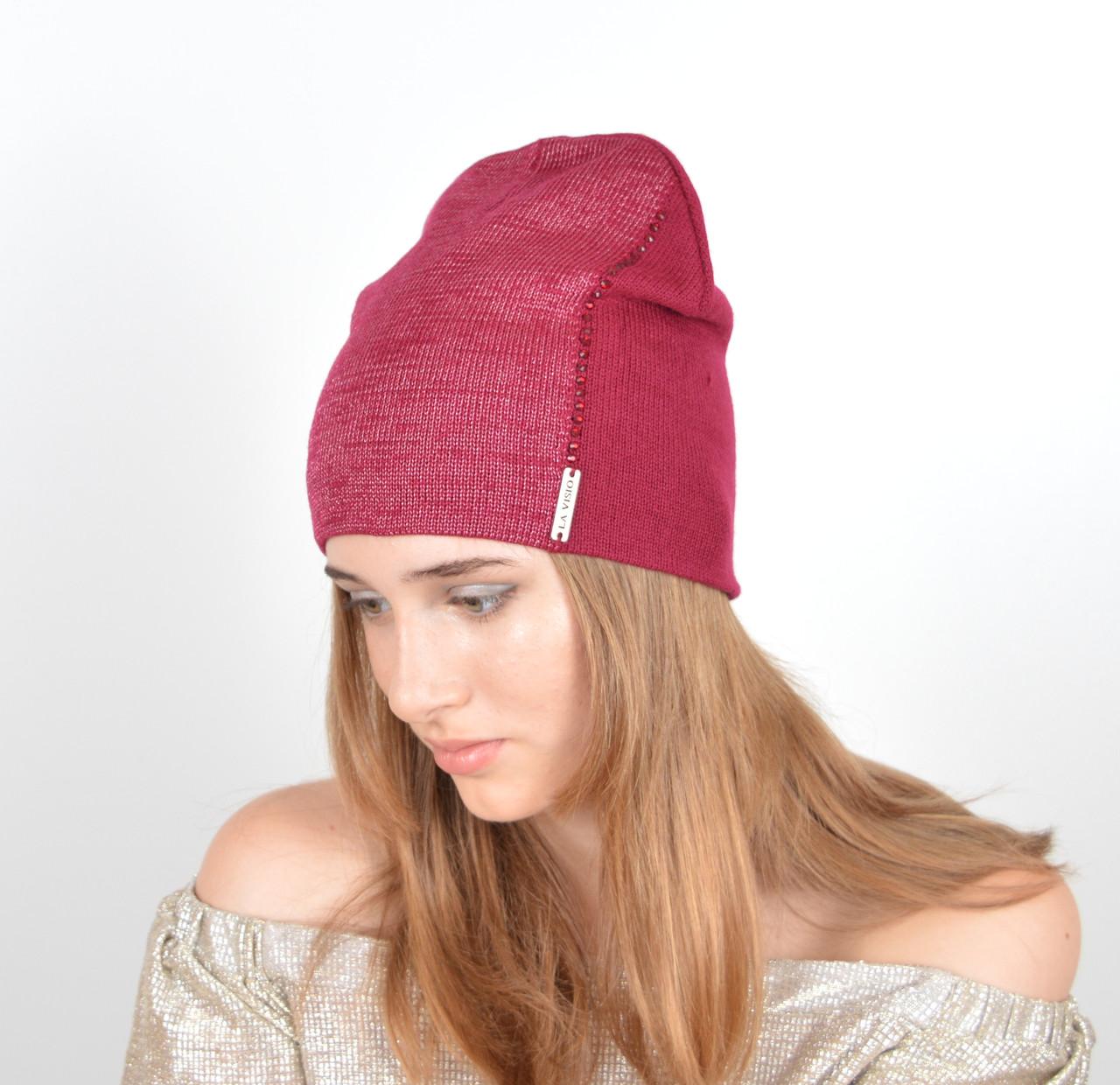 Женская шапка  LaVisio Люрекс+камни. Беж