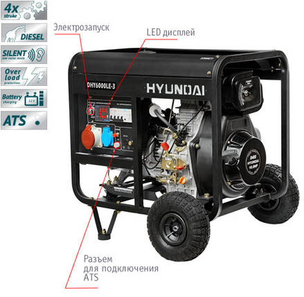 Генератор дизельный Hyundai DHY 6000LE-3 (5,5кВт), фото 2