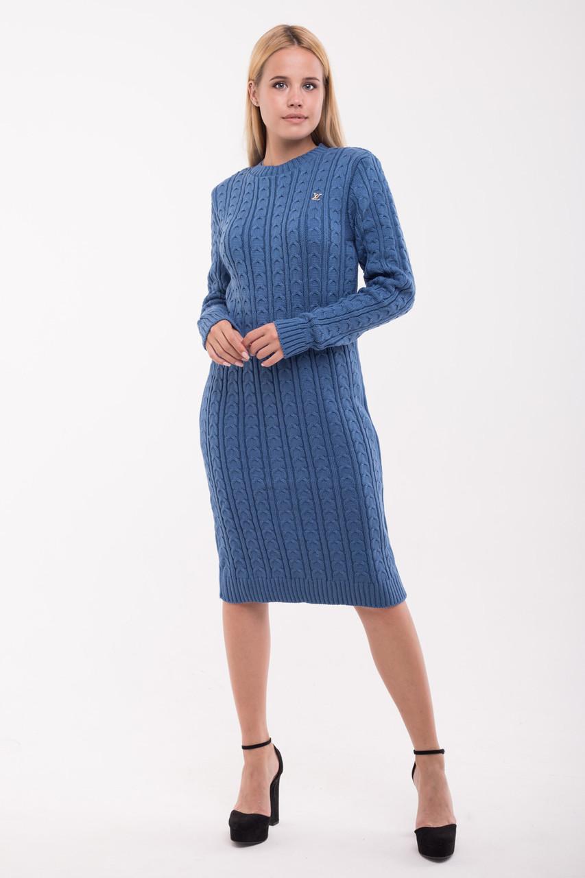 Красивое вязанное платье Рамина джинс(42-48)