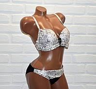 Черно-белый женский купальник, змеиная кожа, раздельный, с брошью, размер M, на завязках, с пуш-апом,