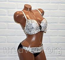 Черно-белый женский купальник, раздельный, с украшением брошь, размер S, на завязках, с пуш-апом, змеиная кожа