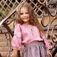Нарядная детская блуза для девочки из натуральной ткани с вышивкой, фото 1