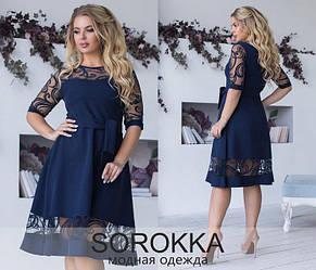 Красивое женское платье креп костюмный, сетка принт- флок. Р. 48,50,52,54