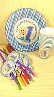 Набор посуды для детского праздника Перший день народження 10 тарелок , 10 стаканчиков , 10 трубочек