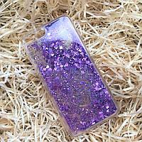 Чехол силиконовый с переливающимися блестками для iPhone 8 Plus, фиолетовый, фото 1