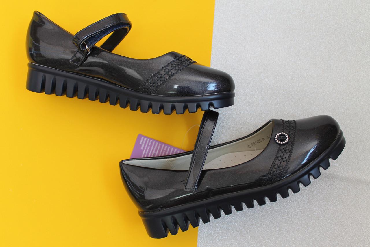 Синие лаковые туфли для девочки на тракторной подошве тм Tom.m р. 27,28,31