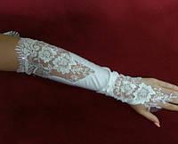 Свадебные перчатки с кружевом айвори (бежевые)
