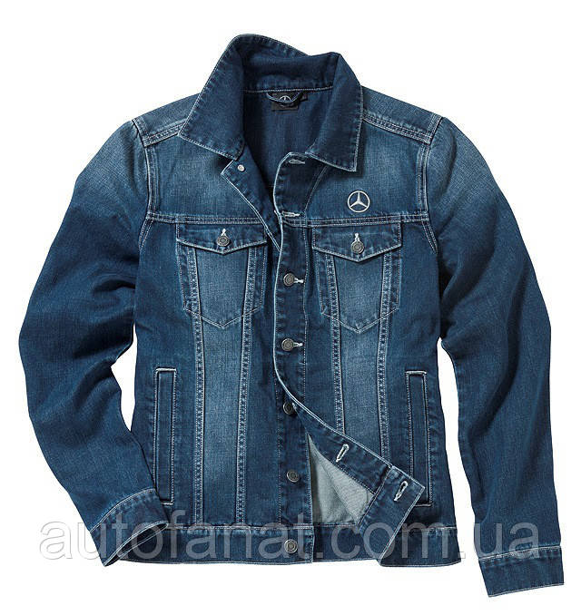 Оригинальная куртка мужская джинсовая Mercedes Embroidered Denim Jacket, Men, Jeans Blue, Trucker (B67871169)