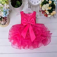 Нарядное детское пышное платье с бусинами и бантом на годик цвет фуксия