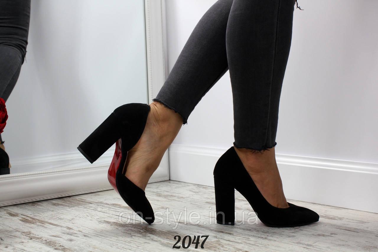 f5ef0e501 Женские черные замшевые туфли на удобном каблуке 10см - Интернет-магазин
