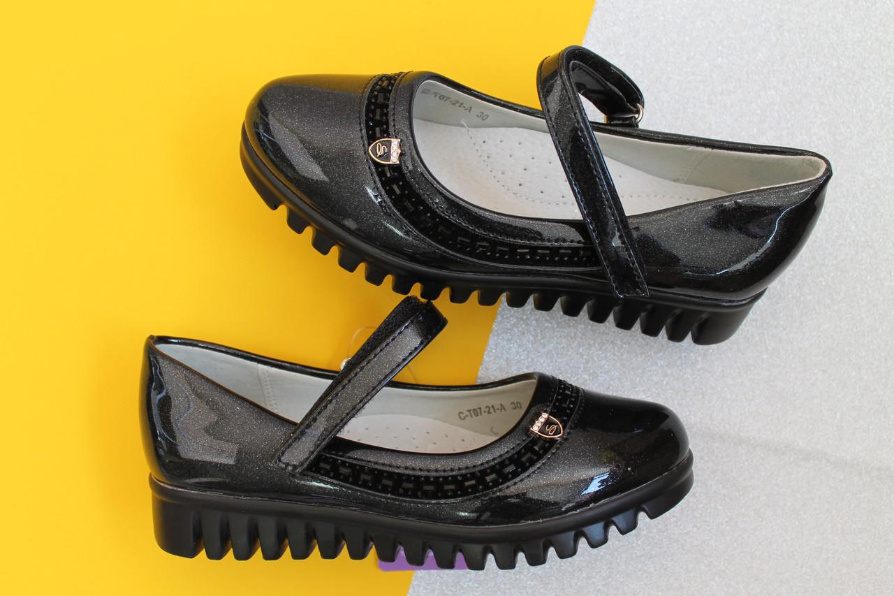 Черные лаковые туфли для девочки на тракторной подошве тм Tom.m р. 27,28,29