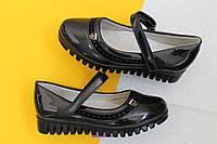 Черные лаковые туфли для девочки на тракторной подошве тм Tom.m р. 27,28,29, фото 1