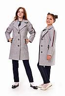 Стильное серое пальто для девочек