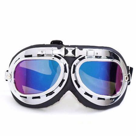 Новые велосипедные, мотоциклетные очки Ретро Винтаж Авиатор защитные Синие, фото 2