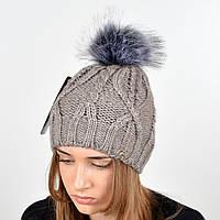 """Вязаная женская шапка """"Lucy"""" с меховым помпоном"""