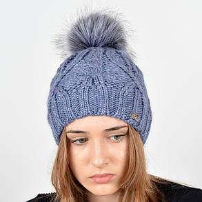 """Вязаная женская шапка """"Lucy"""" с меховым помпоном, фото 2"""