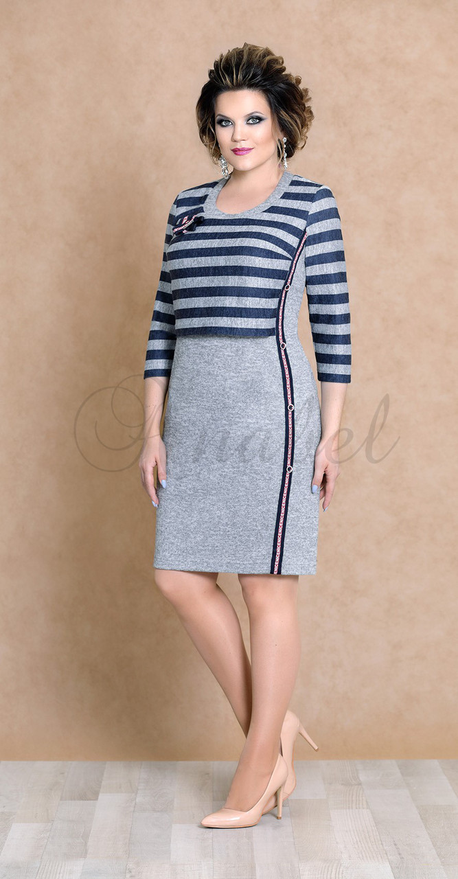 Платье Mira Fashion-4481 белорусский трикотаж, серый+синий, 50