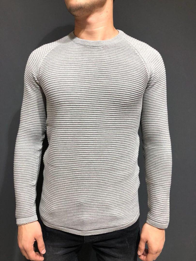 Мужской свитер - реглан светло-серый