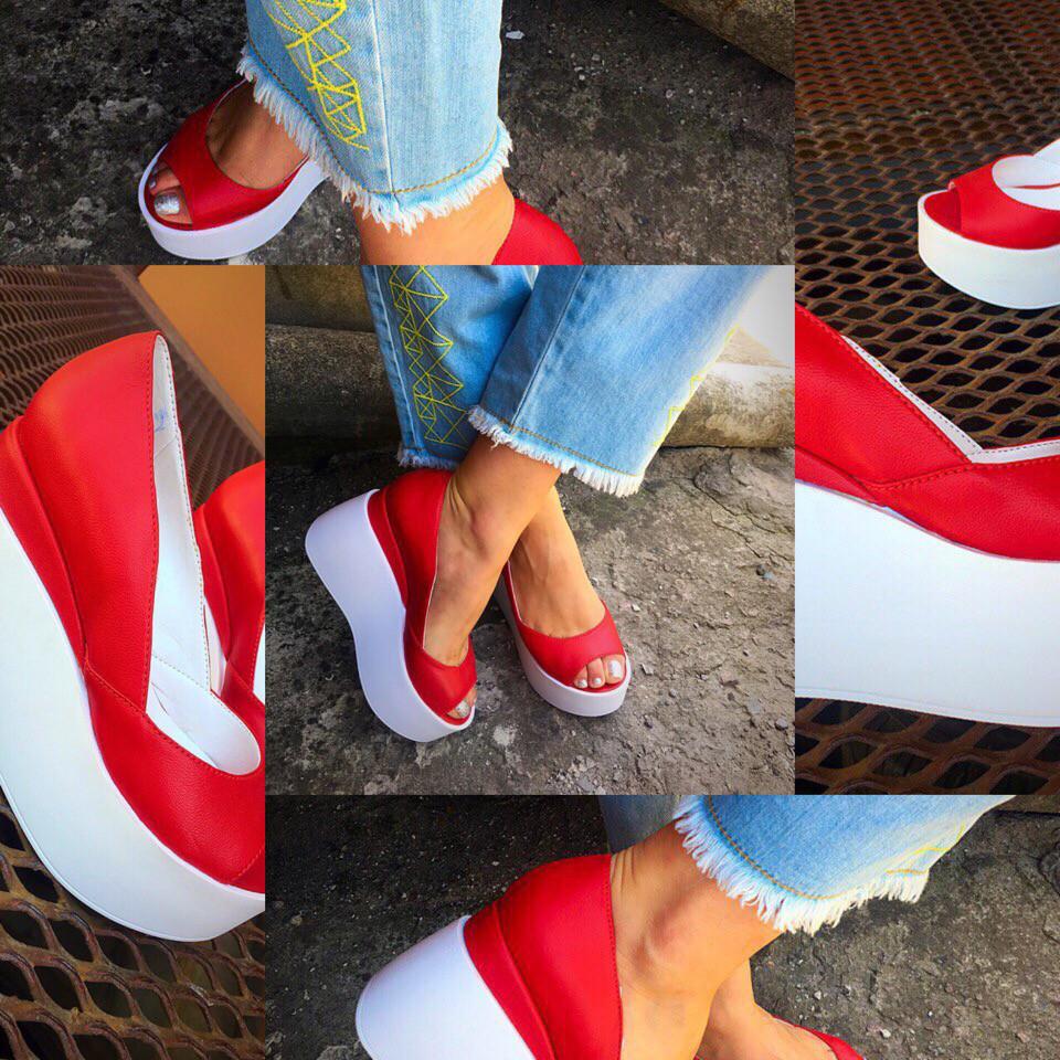 Кожаные туфли на танкетке 36-40 р (красный)
