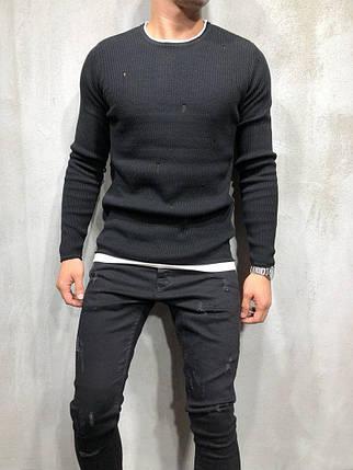 Свитер рваный мужской черный, фото 2