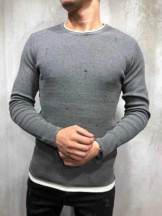 Свитер рваный мужской серый, фото 2