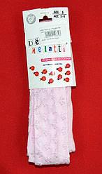 Детские колготы однотонные с фактурным рисунком Цветок розовые (DeMelatti, Турция)
